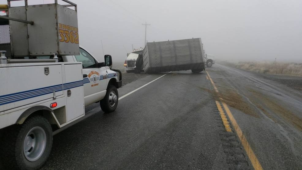 Traffic Accident with Tractor Trailers Blocking Section of