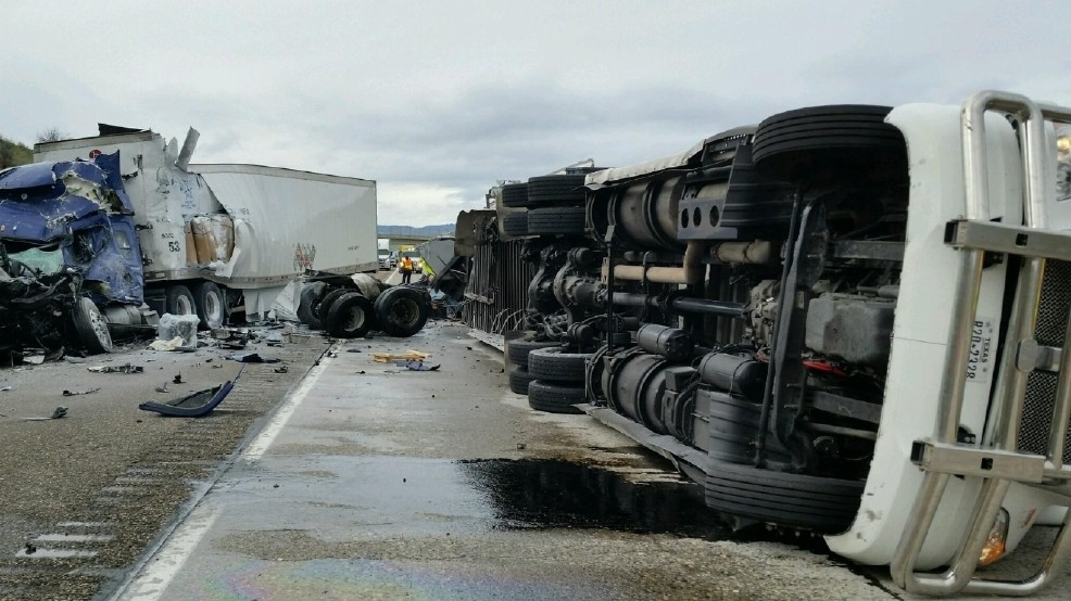 1 killed, 2 injured in semi-truck crashes on Interstate 84